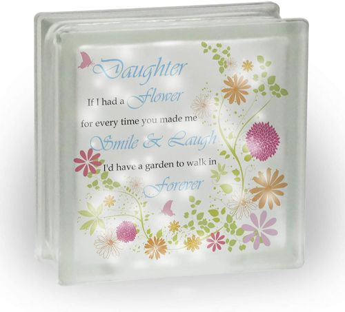 (Female Titles) If I Had A Flower Floral Novelty Frosted View Decoration Glass Block w/White Lights